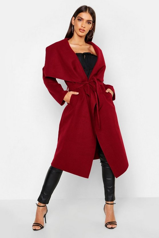 Womens Wine Belted Shawl Collar Coat
