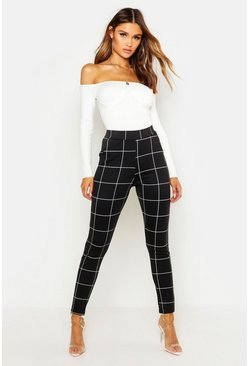 Womens Black Ponte Pocket Detail Check Printed Trousers