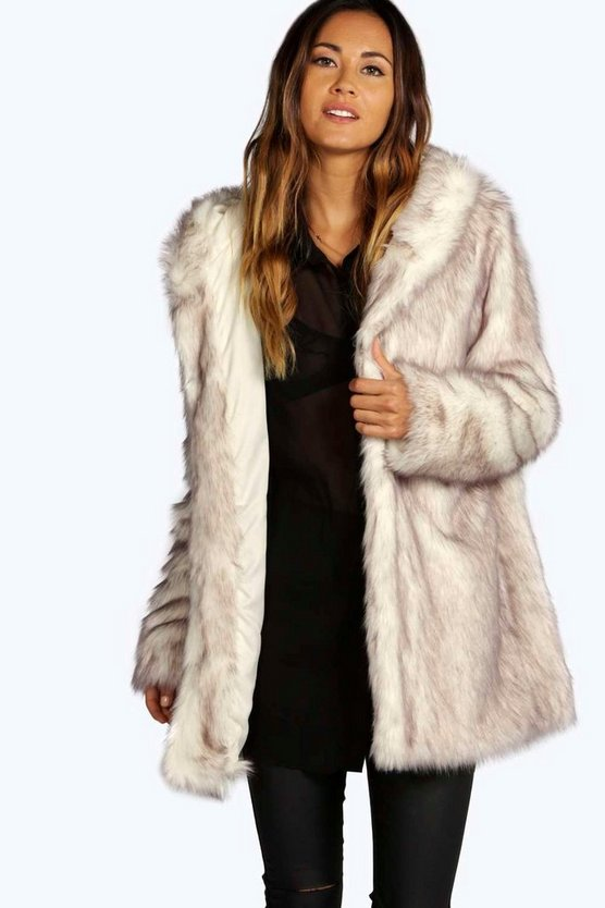 Womens Cream Boutique Hooded Faux Fur Coat