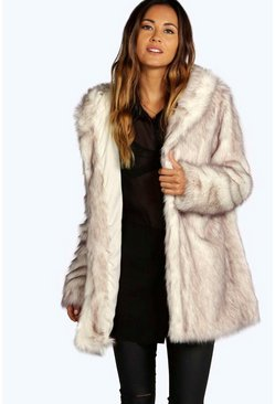 Cream Boutique Hooded Faux Fur Coat