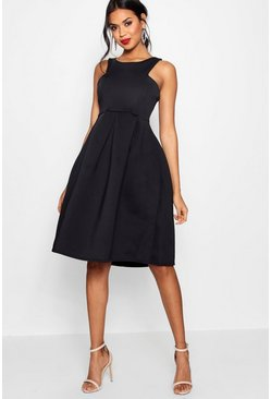 Womens Black Scuba Cutaway Neckline Midi Dress