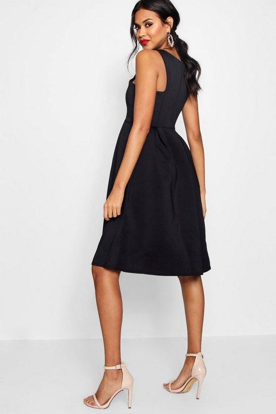 Scuba Cutaway Neckline Midi Dress