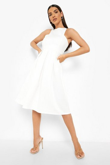 Ivory Scuba Cutaway Neckline Midi Bridesmaid Dress