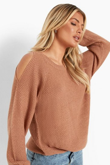 Womens Camel Cold Shoulder Moss Stitch Jumper