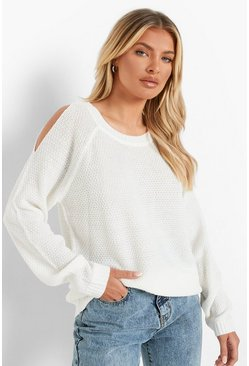 Cream Cold Shoulder Moss Stitch Sweater