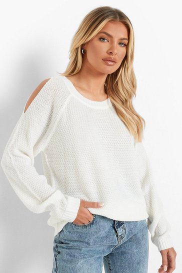 Cream Cold Shoulder Moss Stitch Jumper
