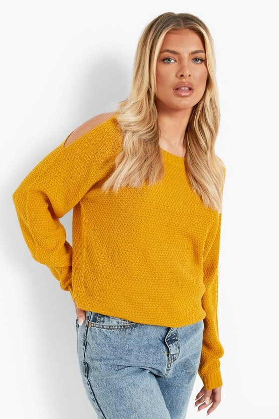 Womens Mustard Cold Shoulder Moss Stitch Sweater