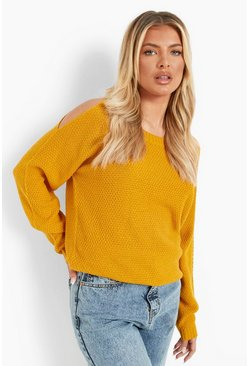 Mustard Cold Shoulder Moss Stitch Sweater