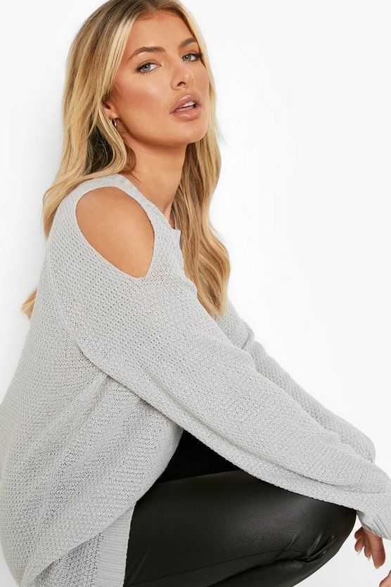 Womens Silver Cold Shoulder Moss Stitch Jumper