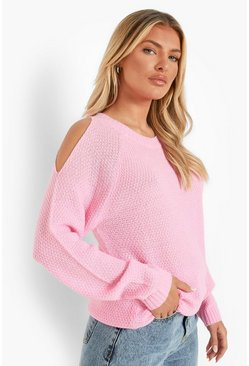 Womens Soft pink Cold Shoulder Moss Stitch Sweater