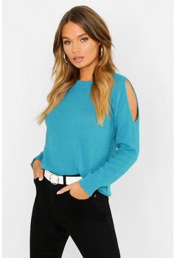 Teal Cold Shoulder Moss Stitch Jumper