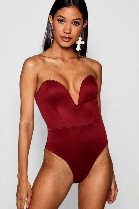 Womens Wine Deep Plunge Bodysuit