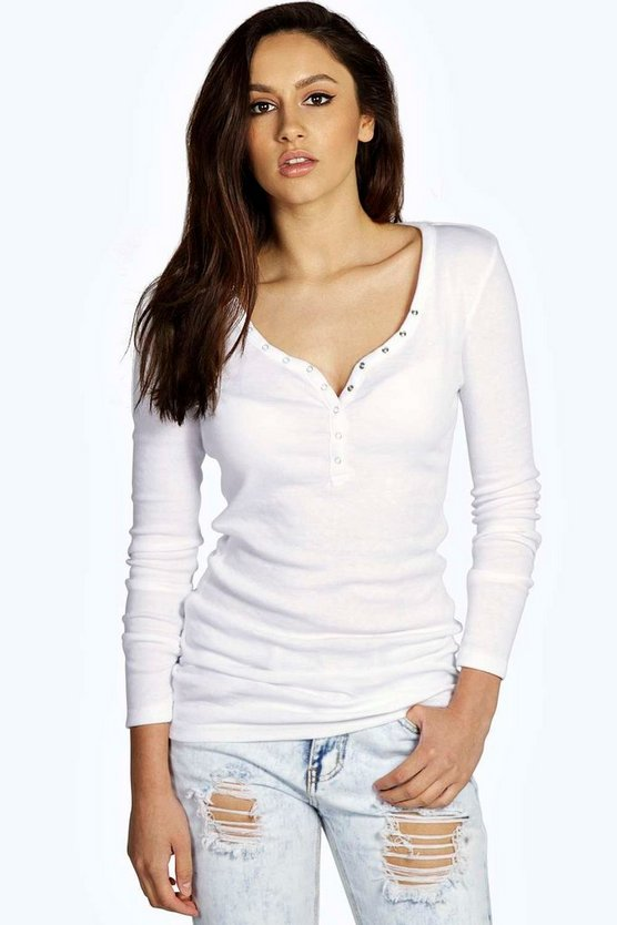 Savannah Popper Detail Long Sleeve T Shirt