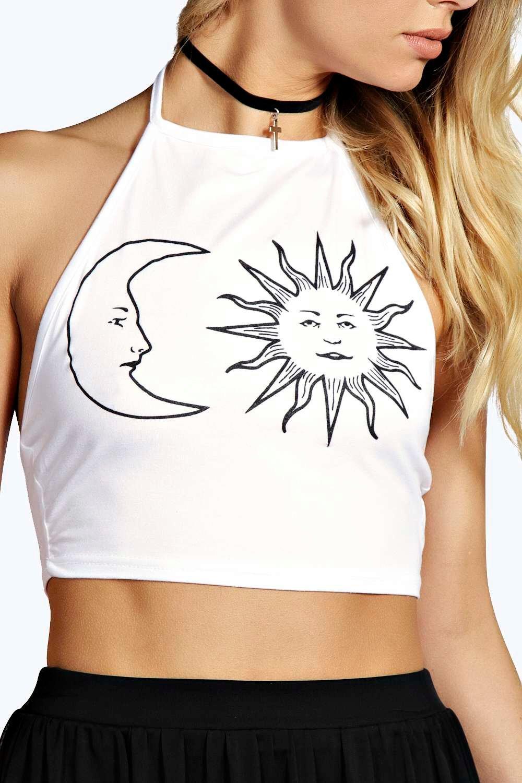 de sol corto gris con y estampado Top cuello halter y marga PYg4nxq0