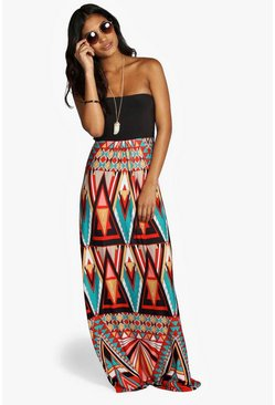 Multi Geo Print Bandeau Maxi Dress
