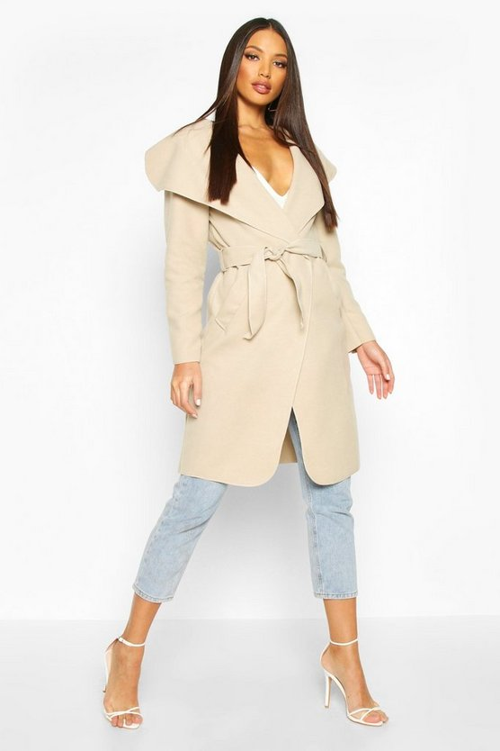 Womens Stone Belted Shawl Collar Coat