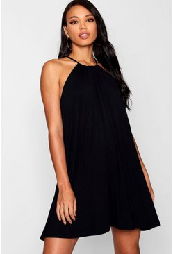 Womens Black Tie Neck Swing Dress