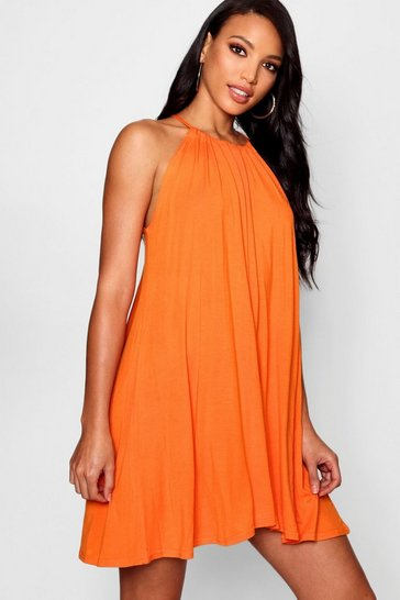 Womens Orange Tie Neck Swing Dress