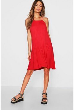 Red Tie Neck Swing Dress