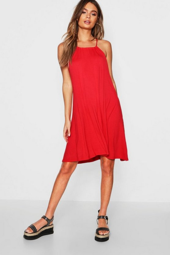 Womens Red Tie Neck Swing Dress