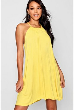 Womens Yellow Tie Neck Swing Dress