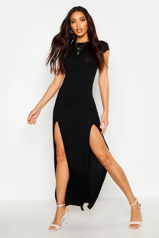 Womens Black Front Split Maxi Dress