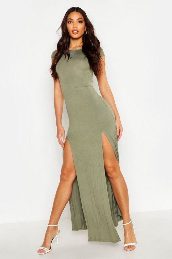 Womens Khaki Front Split Maxi Dress