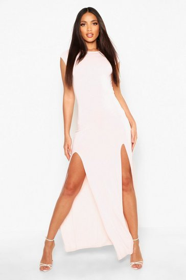 Womens Nude Front Split Maxi Dress
