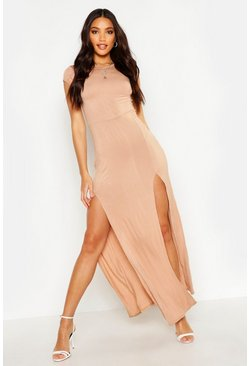 Tan Front Split Maxi Dress