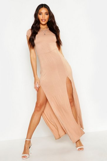 Womens Tan Front Split Maxi Dress
