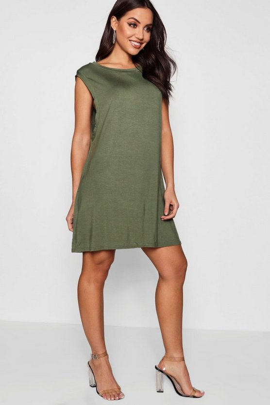 Womens Khaki Drop Armhole T-Shirt Dress