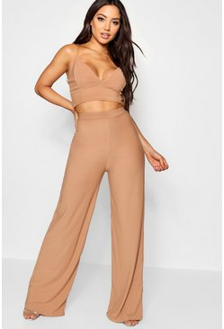 Womens Camel Crepe Bralet Palazzo Pants Co-Ord