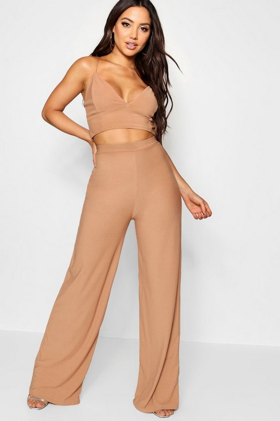 Womens Camel Crepe Bralet Palazzo Trouser Co-Ord