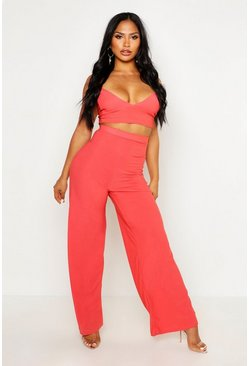 Womens Sahara red Crepe Bralet Palazzo Pants Co-Ord