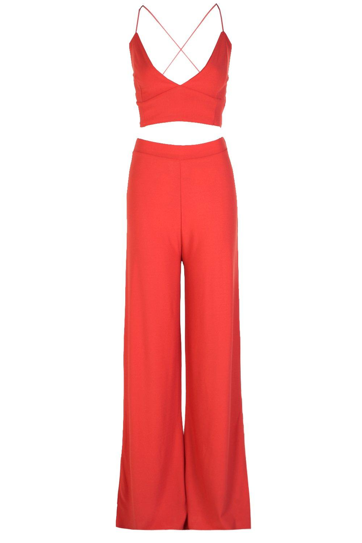 de sahara y palazzo crepé red corpiño Conjunto pantalones en UvPqxZZd