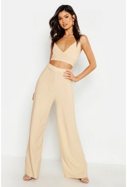 Stone Crepe Bralet Palazzo Trouser Co-Ord