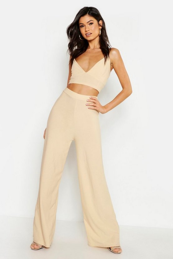 Womens Stone Crepe Bralet Palazzo Trouser Co-Ord