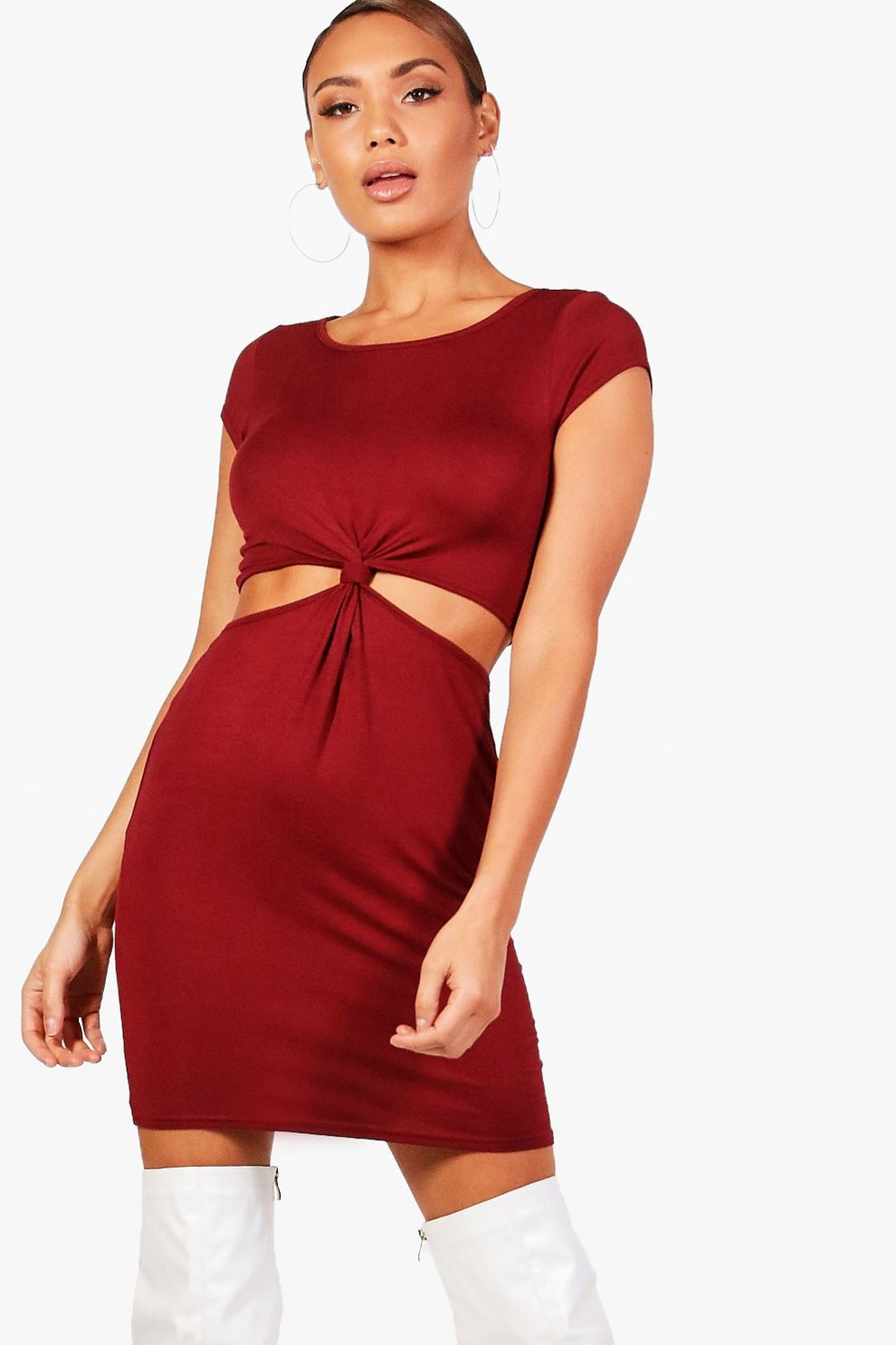 ad4263c4461 Cutout Side Cap Sleeve Knot Dress