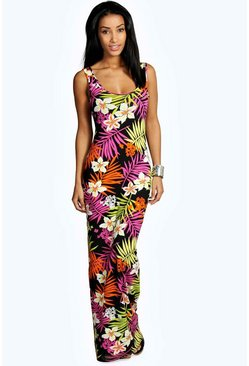 Womens Multi Tropical Scoop Neck Maxi Dress