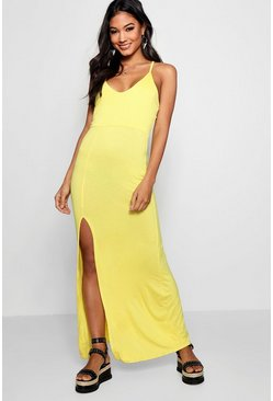 Womens Yellow Strappy Back Maxi Dress