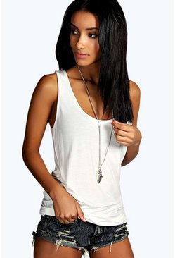 Cream Basic Racer Back Longline Tank Top