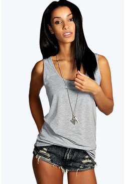 Womens Grey marl Basic Racer Back Longline Vest
