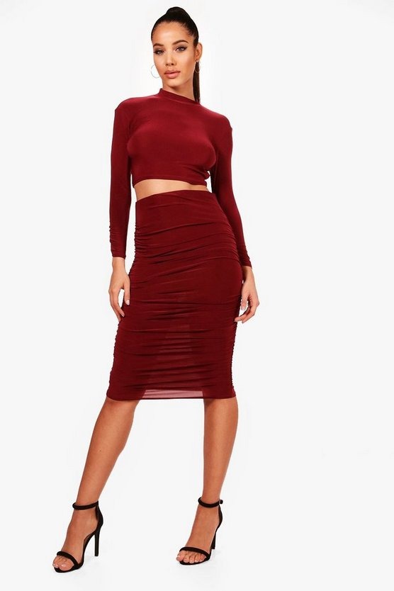 Berry Rouched Sleeve Midi Skirt Co-Ord Set