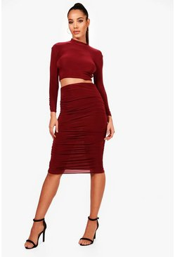 Womens Berry Rouched Sleeve Midi Skirt Co-Ord Set