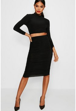 Womens Black Rouched Sleeve Midi Skirt Co-Ord Set