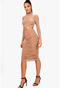 Womens Camel Rouched Sleeve Midi Skirt Co-Ord Set