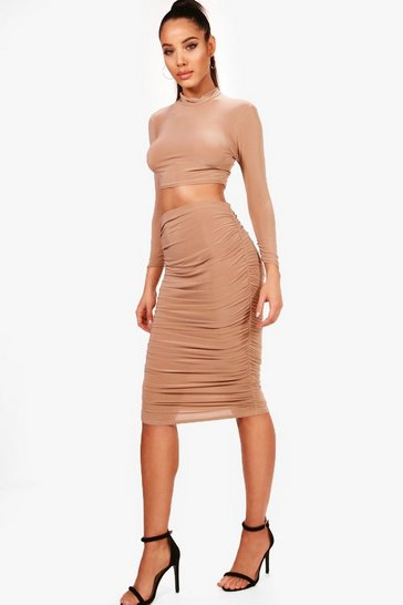 Camel Rouched Sleeve Midi Skirt Co-Ord Set