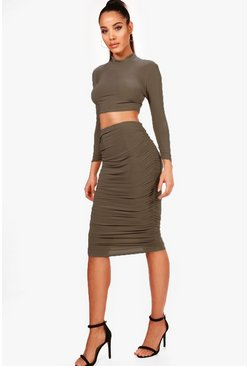 Khaki Rouched Sleeve Midi Skirt Co-Ord Set