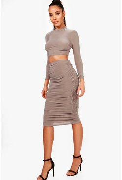 Womens Mocha Rouched Sleeve Midi Skirt Co-Ord Set