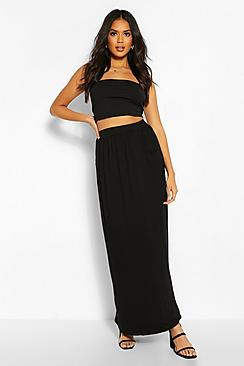 Basic Pocket Front Jersey Maxi Skirt